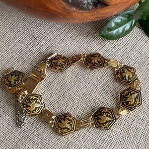 Vintage Damascene Floral Bird Link Bracelet